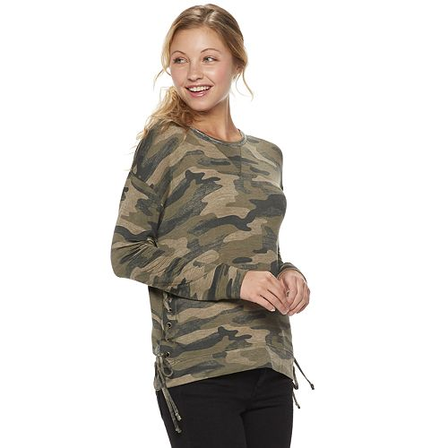 Juniors' Rewind Lace-Up Side Sweatshirt