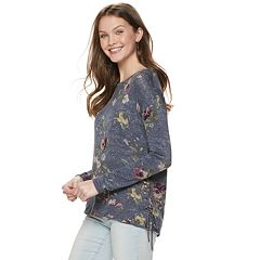 Juniors' Rewind Lace-Up Side Sweatshirt