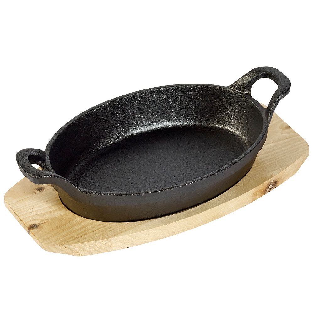 Basic Essentials Oval Cast-Iron Sizzler Set with Wood Trivet