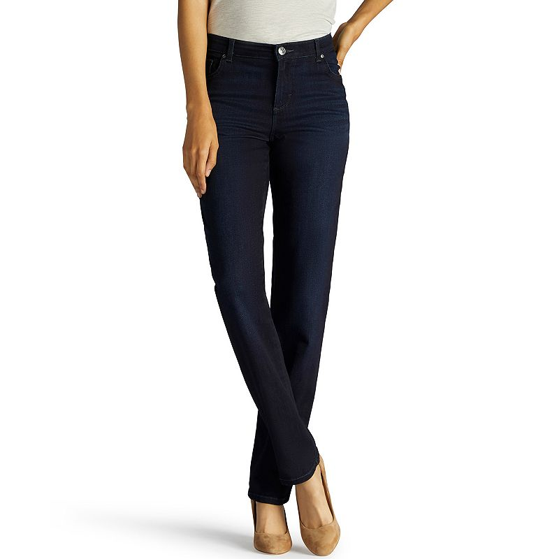 Petite Lee Relaxed Straight-Leg Mid-Rise Jeans, Women's, Size: 4 Petite, Dark Blue