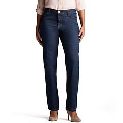 Petite Lee Relaxed Straight-Leg Mid-Rise Jeans