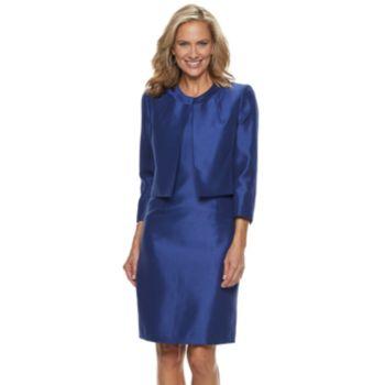 Women's Le Suit Shiny Jacket & Dress Set