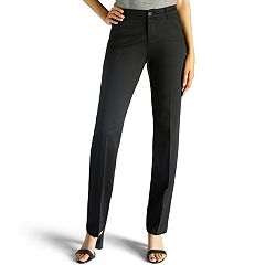 Petite Lee Total Freedom Straight-Leg Twill Mid-Rise Pants