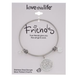 """love this life """"True Friends Give You Wings To Soar"""" Bangle Bracelet"""