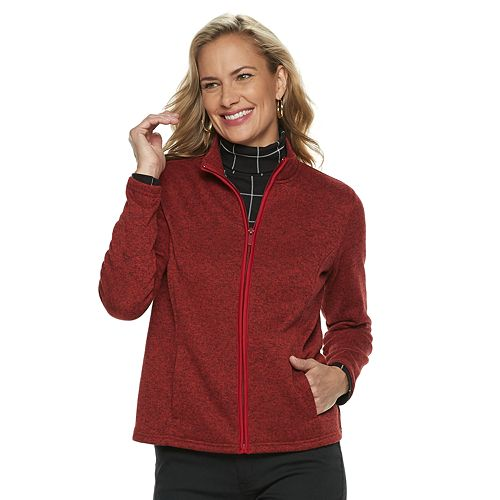 Petite Croft & Barrow® Long Sleeve Fleece Jacket