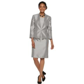 Women's Le Suit Shiny Flyway Jacket & Sheath Dress Set
