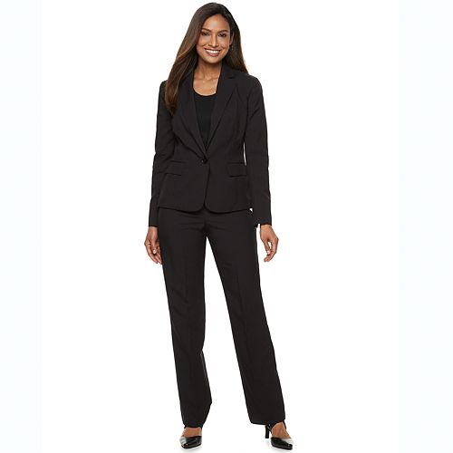 Women's Le Suit Pinstripe Suit Jacket & Pants Set