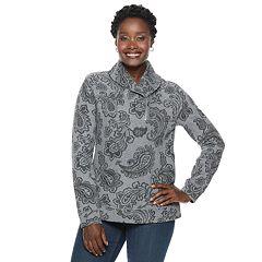 Petite Croft & Barrow® Shawl Collar 1/4-Zip Jacquard Sweatshirt