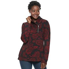 Petite Croft & Barrow® Shawl Collar 1/4-Zip Jacquard Sweatshirt
