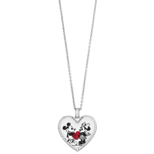 Disney's Mickey Mouse 90th Anniversary Mickey & Minnie Heart Pendant Necklace by Kohl's
