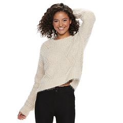 Juniors' Candie's® Chenille Eyelash Long Sleeve Top