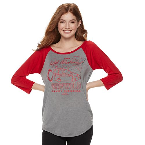 """Juniors' National Lampoon's Christmas Vacation """"Griswold Family"""" Raglan Graphic Tee"""