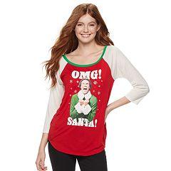 Juniors' Elf 'OMG Santa' Raglan Graphic Tee