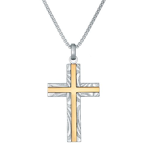 Men's LYNX Gold Inset Damascus Steel Cross Pendant Necklace