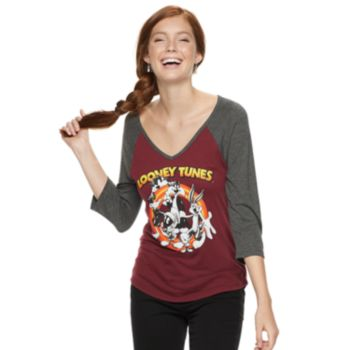 Juniors' Looney Tunes Raglan Tee