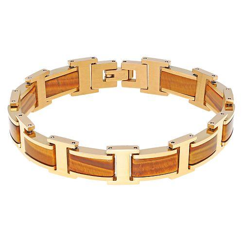 Men's LYNX Yellow Stainless Steel Tiger's Eye Bracelet