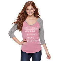 Juniors' 'Obviously I'm a Mermaid' Raglan Tee