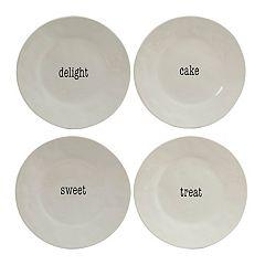 Certified International Just Words 4-piece Dessert Plate Set