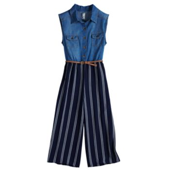 Girls 7-16 Knitworks Denim Bodice Belted Jumpsuit
