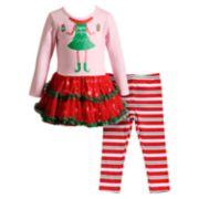 "Toddler Girl Youngland ""Elfie Selfie"" Tulle Dress & Striped Leggings Set"