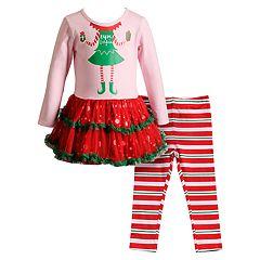 Toddler Girl Youngland 'Elfie Selfie' Tulle Dress & Striped Leggings Set