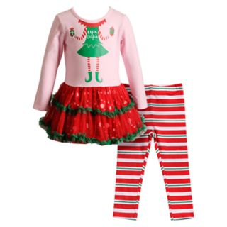 "Toddler Girl Youngland ""Elfie Selfie"" Tulle Dress & Striped Leggings Set"