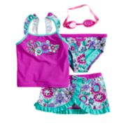 Girls 4-6x ZeroXposur Scribble Doodle Tankini Top & Bottoms & Skirt Swimsuit Set with Goggles