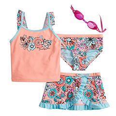 cd333cfa28 Girls 4-6x ZeroXposur Scribble Doodle Tankini Top   Bottoms   Skirt Swimsuit  Set with. Sorbet Aurora. sale