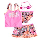 Girls 4-6x ZeroXposur Whirl Wind Tankini Top & Bottoms & Skirt Swimsuit Set with Goggles