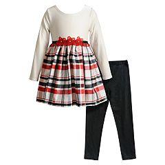 Toddler Girl Youngland Plaid Taffeta Dress & Leggings Set