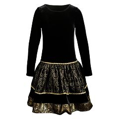 Girls Emily West Metallic Drop Waist Dress