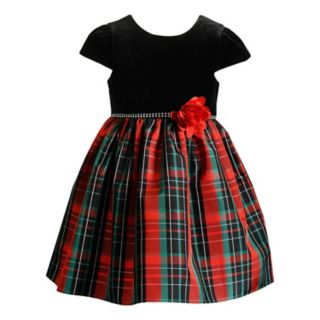 Toddler Girl Youngland Plaid Velvet Dress