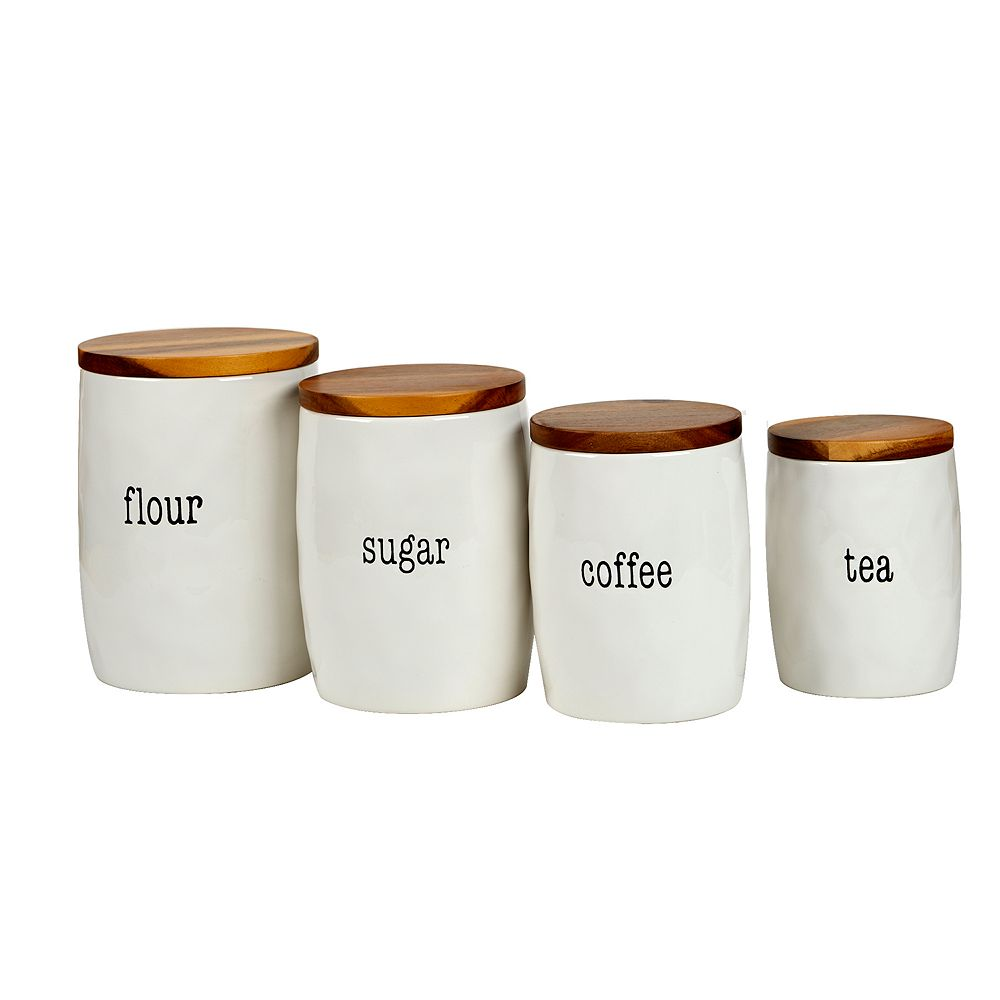 Certified International Just Words 4-piece Canister Set with Wooden Lids