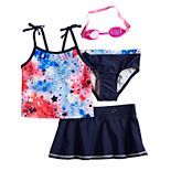 Girls 4-6x ZeroXposur Fireworks Tankini Top, Bottoms & Skirt Swimsuit Set with Goggles