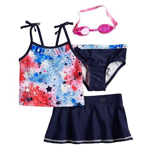 Girls 4-6x ZeroXposur Fireworks Tankini Top, Bottoms & Skirt Swimsuit Set with Goggles