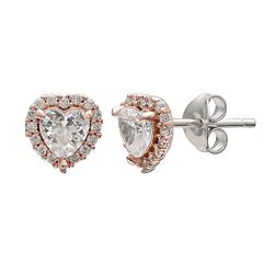 PRIMROSE Two Tone Sterling Silver Cubic Zirconia Heart Stud Earrings