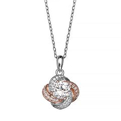 PRIMROSE Two Tone Sterling Silver Cubic Zirconia Love Knot Pendant Necklace