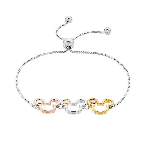 Disney's Mickey Mouse Tri-Tone Bracelet by Timeless Sterling Silver