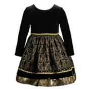 Toddler Girl Youngland Foiled Velvet Dress