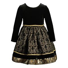 Toddler Girl Youngland Foiled Velvet Dress