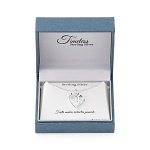 """Timeless Sterling Silver Cubic Zirconia """"Faith Hope Love"""" Heart Pendant Necklace"""