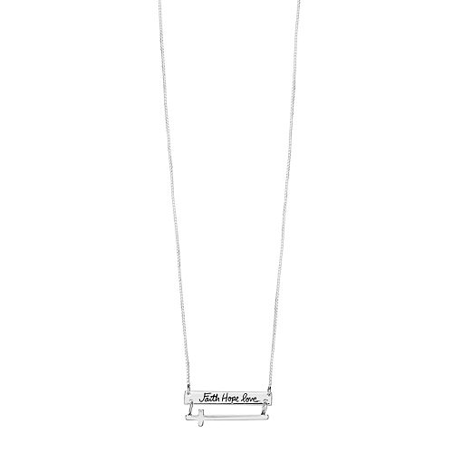 """Timeless Sterling Silver """"Faith Hope Love"""" Sideways Cross Necklace"""