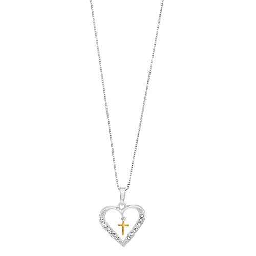 Timeless Sterling Silver Cubic Zirconia Two Tone Heart & Cross Pendant Necklace