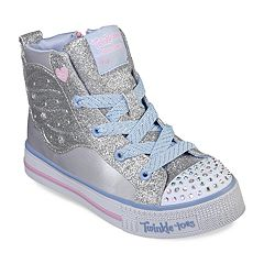 Skechers Twinkle Toes Shuffle Lite Wonder Wingz Girls' Light Up High Top Shoes