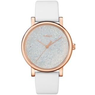 Timex Women's Elevated Classic Crystal Accent Leather Watch - TW2R95000JT