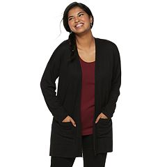 Juniors' Plus Size SO® Side Slit Open Front Cardigan
