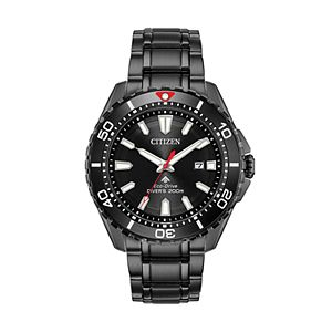 Citizen Eco-Drive Men's Promaster Black Ion-Plated Stainless Silver Diver Watch - BN0195-54E