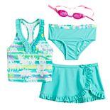 Girls 4-6x ZeroXposur Magic Mirage Tankini Top, Bottoms & Skirt Swimsuit Set with Goggles