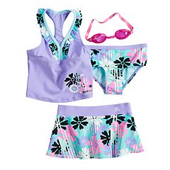Girls 4-6x ZeroXposur Daisy Reign Tankini Top, Bottoms & Skirt Swimsuit Set with Goggles