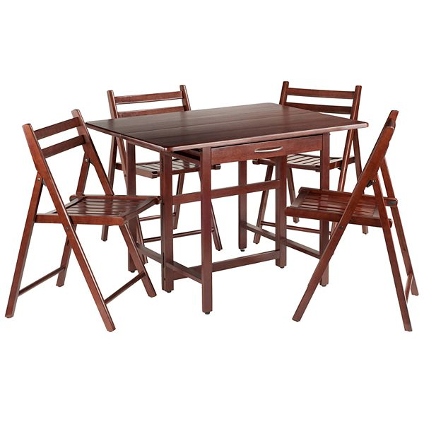 Silver Dining Table And Chairs, Winsome Taylor Drop Leaf Table And Chairs 5 Piece Set